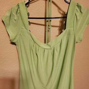Lime green laced back blouse